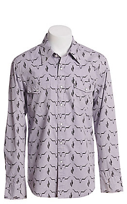 Rock and Roll Cowboy Men's Grey Cactus and Skull Print Long Sleeve Western Shirt