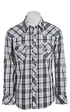 Rock & Roll Cowboy Men's Grey Plaid Long Sleeve Western Shirt