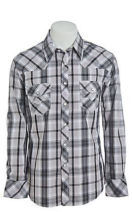 Rock & Roll Cowboy Men's Grey Plaid Long Sleeve Western Shirt