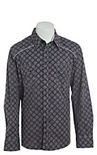 Rock & Roll Cowboy Men's Big Grey Geo Print Long Sleeve Western Shirt