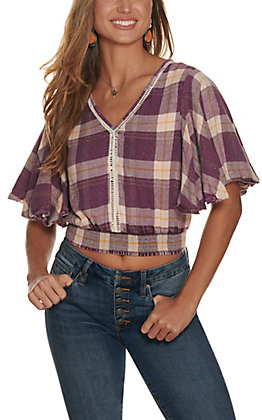 Angie Women's Purple and Mustard Plaid with Crochet Short Flutter Sleeve Cropped Top
