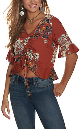 Angie Women's Rust with Floral Print Cinched Front Short Sleeve Fashion Top