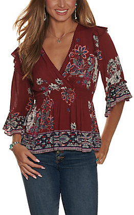 Angie Women's Wine with Floral Print Smocked Waist 3/4 Bell Sleeve Fashion Top