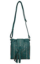 Bandana by American West Messa Collection Turquoise Metallic Organized Crossbody Bag
