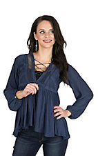 Vintage Havana Women's Slate Blue with Mesh Detials Long Bell Sleeve Peasant Fashion Top
