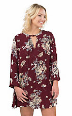 Vintage Havana Women's Burgundy Floral Print with Keyhole Front Long Sleeve Dress