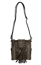 Bandana by American West Messa Collection Chocolate Metallic Organized Crossbody Bag