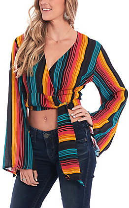 Rock & Roll Cowgirl Women's Serape Long Bell Sleeve Wrap Around Fashion Top
