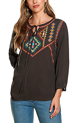 Rock & Roll Cowgirl Women's Charcoal with Multi Aztec Embroidery Tie Neck Long Sleeve Top