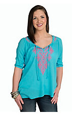 Rock & Roll Cowgirl Women's Turquoise with Pink Aztec Embroidery 3/4 Sleeve Peasant Top