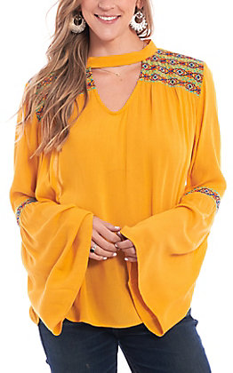 Rock & Roll Cowgirl Women's Yellow Aztec Embroidered Long Bell Sleeve Fashion Top