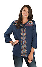 Rock & Roll Cowgirl Women's Navy Aztec and Floral Embroidered Peasant Fashion Top