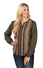 Rock & Roll Cowgirl Olive Green Long Sleeve Embroidered Fashion Top