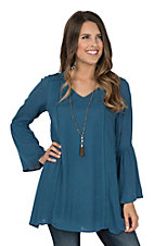 Rock & Roll Cowgirl Women's Blue Long Bell Sleeve Tunic Fashion Top