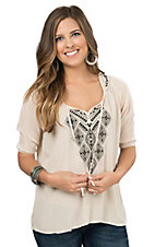 Rock & Roll Cowgirl Women's Tan with Black Embroidery 3/4 Sleeve Peasant Top