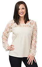 Rock & Roll Cowgirl Women's Cream with Lace Shoulders and Arms Long Sleeve Fashion Top
