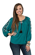Rock & Roll Cowgirl Women's Teal with Aztec Embroidery 3/4 Sleeve Fashion Top