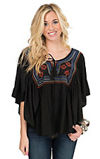 Rock & Roll Cowgirl Women's Black with Embroidery Butterfly Sleeve Peasant Blouse Fashion Top