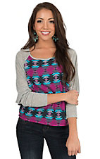 Rock & Roll Cowgirl Women's Multicolor Aztec & Grey Raglan Long Sleeve Knit Top