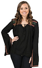 Rock & Roll Cowgirl Women's Black with Multi Aztec Embroidery Long Split Bell Sleeves Fashion Top