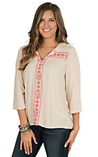 Rock & Roll Cowgirl Women's Tan with Red Floral Embroidery 3/4 Sleeve Blouse