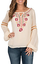 Rock & Roll Cowgirl Women's Cream with Floral Embroidery Peasant Long Sleeve Fashion Top