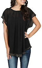 Rock & Roll Cowgirl Women's Black Dolman Sleeve Pleaded w/ Studs Fashion Shirt