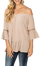 Rock and Roll Cowgirl Dusty Mauve Off the Shoulder Fashion Shirt