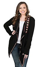 Rock & Roll Cowgirl Women's Black with Coral and Teal Aztec Embroidery Long Sleeve Cardigan