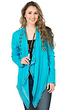 Rock & Roll Cowgirl Women's Turquoise with Pink and Black Embroidery Long Sleeve Cardigan