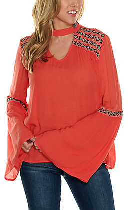 Rock & Roll Cowgirl Women's Coral with Aztec Embroidered Long Bell Sleeve Fashion Top