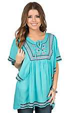 Rock & Roll Cowgirl Turquoise with Pink and Black Embroidery Butterfly Sleeve Peasant Fashion Top