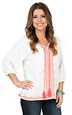 Rock & Roll Cowgirl Women's White with Coral Embroidery 3/4 Sleeve Fashion Top