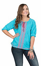 Rock & Roll Cowgirl Women's Turquoise with Pink Embroidery 3/4 Sleeve Fashion Top