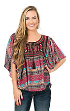 Rock & Roll Cowgirl Women's Black, Red, Taupe, and Turquoise Aztec Pattern Butterfly Sleeve Peasant Fashion Top