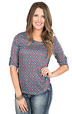 Rock & Roll Cowgirl Women's Pink, Teal, Green, and Black Print 3/4 Sleeve Fashion Top