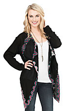 Rock & Roll Cowgirl Women's Black with Turquoise and Red Aztec Embroidery Long Sleeve Cardigan