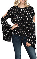 Rock and Roll Cowgirl Women's Cactus Bell Sleeve Fashion Top