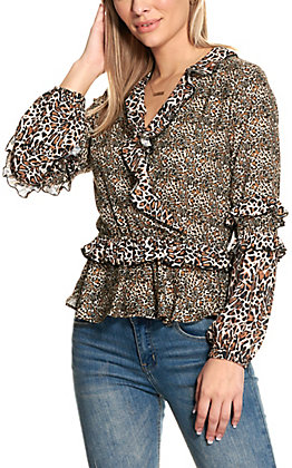 Rock & Roll Cowgirl Women's Fashion Posse Leopard Print with Ruffles Long Sleeve Fashion Top