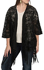 Rock & Roll Cowgirl Women's Floral Burnout Fringe Kimono