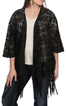 Rock & Roll Cowgirl Women's Floral Burnout Fringe Kimono