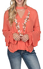 Rock & Roll Cowgirl Coral Surplice Embroidered Top