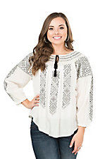 Rock & Roll Cowgirl Women's Cream with Black Tribal Embroidery Long Sleeve Fashion Tunic Top