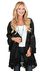 Rock & Roll Cowgirl Women's Black with Tassel Trim and Crochet Detailing Long Sleeve Kimono