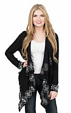 Rock & Roll Cowgirl Women's Black with Silver Aztec Embroidery Long Sleeve Wrap Cardigan