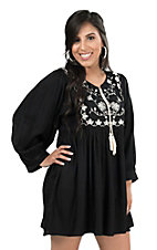 Panhandle Women's Black with White Floral Embroidery and Tassel Long Puff Sleeve Dress