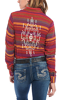 Rock & Roll Cowgirl Women's Striped Aztec Embroidered Long Sleeve Western Shirt