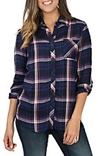 Rock & Roll Cowgirl Women's Navy & Pink Brushed Herringbone Plaid L/S Fashion Shirt