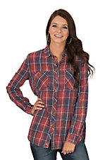 Rock & Roll Cowgirl Women's Red & Blue Bleach Washed Plaid Long Sleeve Fashion Shirt