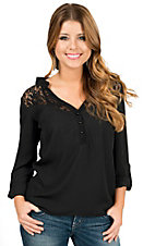 Rock & Roll Cowgirl Women's Black with Lace Long Sleeve Fashion Top
